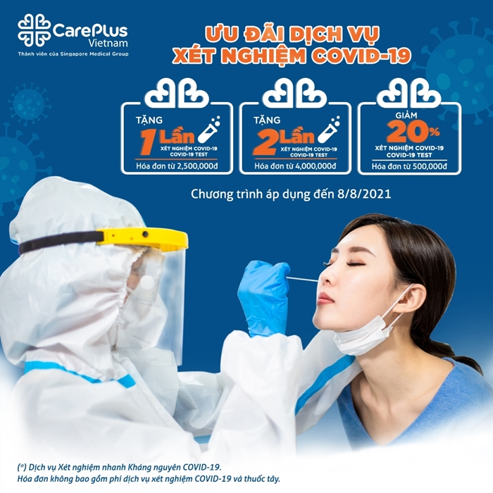 Ưu đãi dịch vụ xét nghiệm nhanh kháng nguyên COVID-19