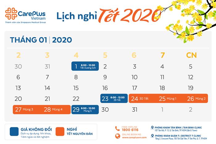 Lịch làm việc và nghỉ Tết Dương lịch & Âm lịch 2020